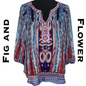 Fig and Flower Red Blue Boho Blouse Size S